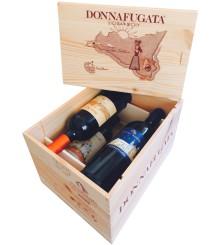 Donnafugata original 4er Holzkiste mit Schiebedeckel unbefüllt