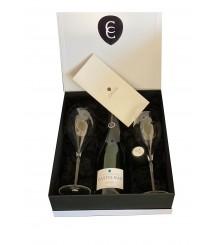 Champagne Castelnau Brut Réserve in GEPA mit 2 Gläsern