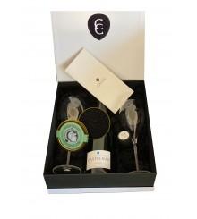 Champagne Castelnau Brut Réserve in GEPA mit 2 Gläsern und 50g Röhn Kaviar